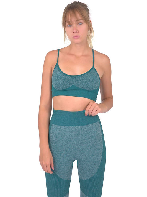 Megara Seamless Sports Bra With Striped Band - Green