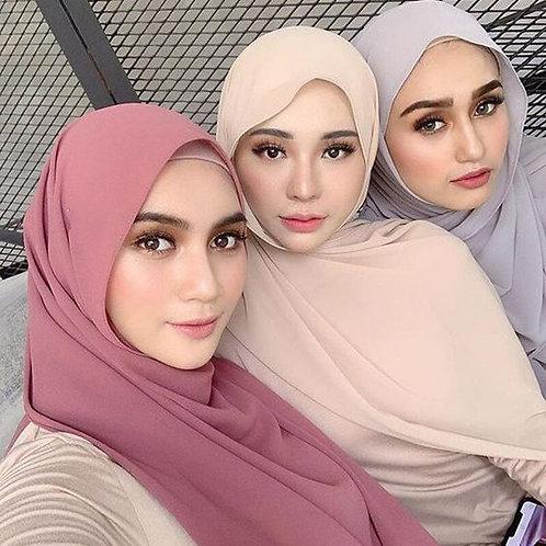 Chiffon Muslim Headscarf for Women Solid Color Wraps
