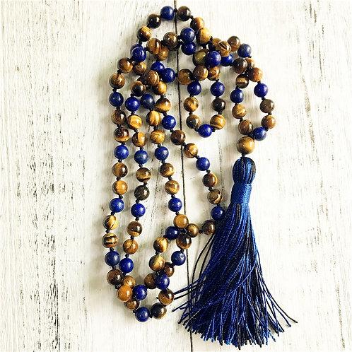 108 Mala Beads Necklace Tiger Eye & Lapis Lazuli Yoga Jewelry Meditation
