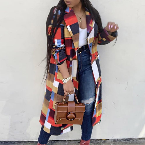 Color Plaid Wool Coat  African Ladies Oversized Outerwear 3XL