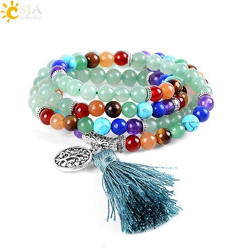 CSJA 108 Meditation Green Aventurine Multi-Layer Bracelets 7 Chakra Yoga Balance
