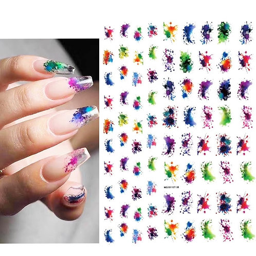 3D Nail Stickers Decals Colorful Water Drop Style Adhesive Stickers