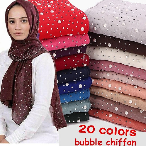 Bubbles Chiffon Scarf and Diamond Studs Pearls Scarf 10/pcs lot