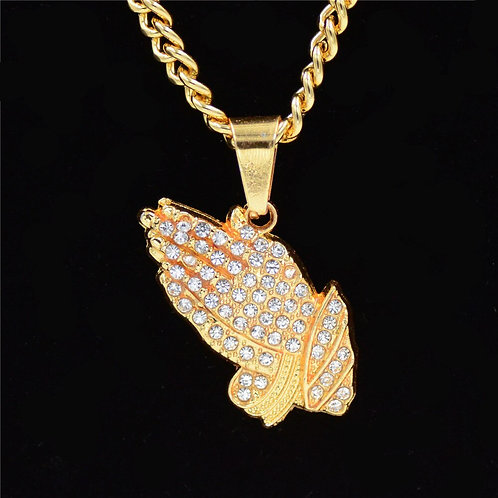 Hip Hop Iced Out Round Allah Pendant Necklace Arabic Gold Color Prayer Jewelry