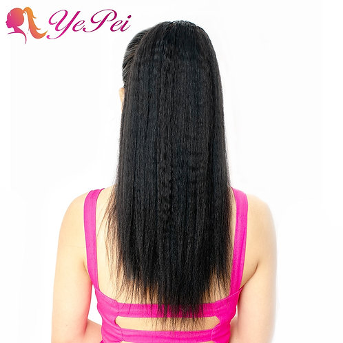 Kinky Straight Drawstring Ponytail Clip in Extensions Natural Color