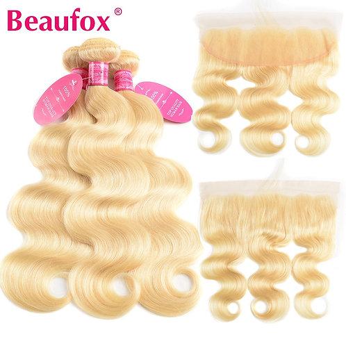 613 Blonde Bundles With Frontal Brazilian Body Wave