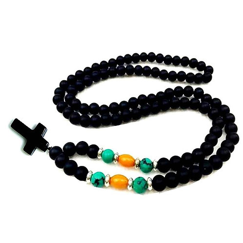 Natural 8MM Black Stone Beads With Cross Pendant Rosary Mala Jewelry
