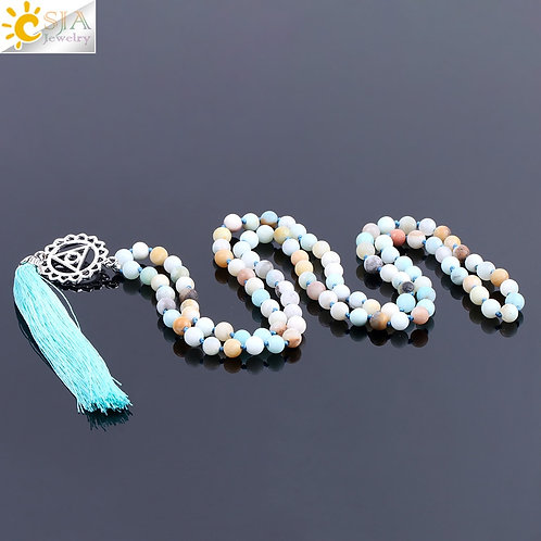 CSJA 108 Natural Round Amazonite Tassel Necklace 6mm Mala Beads