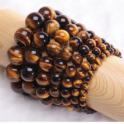 Minimalist Natural Stone Beads Tiger Eye Bracelet 4 Size Beaded Homme Bijoux