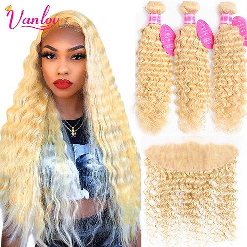 613 Blonde Bundles With 13*4 Frontal Brazilian Deep Wave