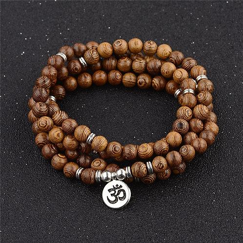 Multilayer 108 Wood Beads Lotus OM Bracelet