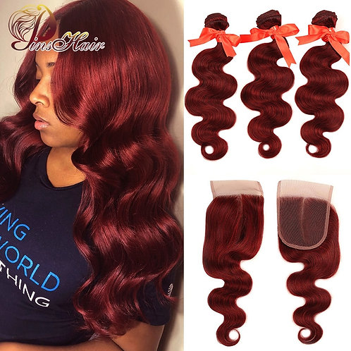 99J Hair Red Burgundy Bundles With Closure Brazilian Body Wave Human Hair