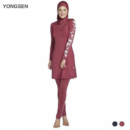 YONGSEN Women Plus Size Printed Floral Muslim Swimwear Hijab