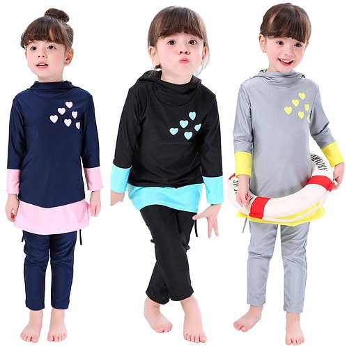 Children Two-Piece Long Sleeve Swimsuits Arab Islam Beach Wear Diving Suits