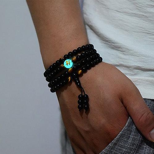 BOEYCJR Dragon Black Buddha Mala Beads Bangles&Bracelets