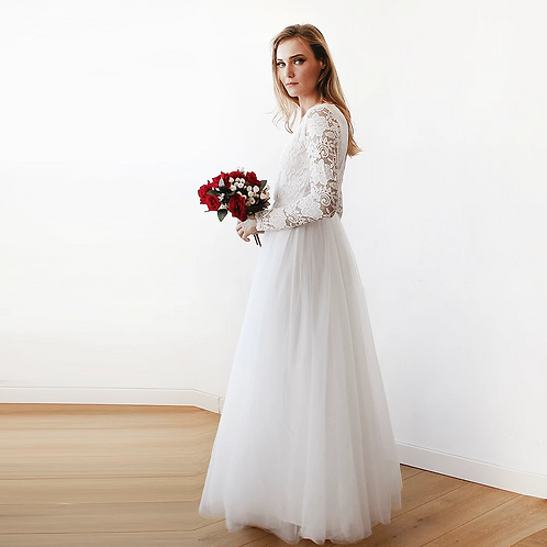 Ivory Tulle & Lace  Maxi Dress #1125