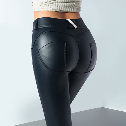Faux Pu Leather Leggings Thick/Black/Push Up/High Waist Leggings