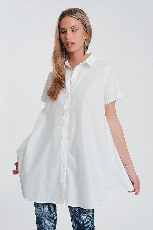 Short Sleeves Oversized Poplin Shirt in White