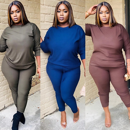 Plus Size Active Wear Women Solid Color Two Piece Set