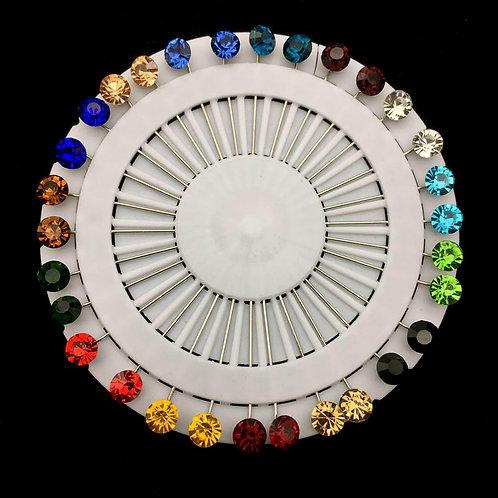 Crystal Hijab Pins Set 30PCS Muslim Brooches for Women Hijab Scarf Pins