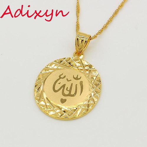 Adixyn Allah Pendant Chain for Women Men Gold Islam Middle East Arab Jewelry
