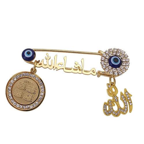 Quran Four Qul Suras Islam Allah Evil Eye Muslim Brooch Baby Pin