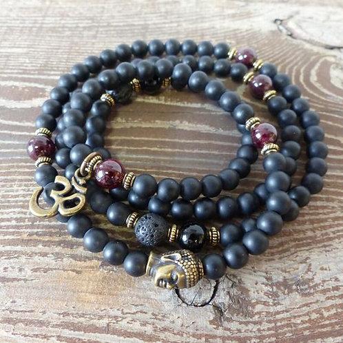 108 Mala Beaded Meditation Bracelets Black Matte Onyx