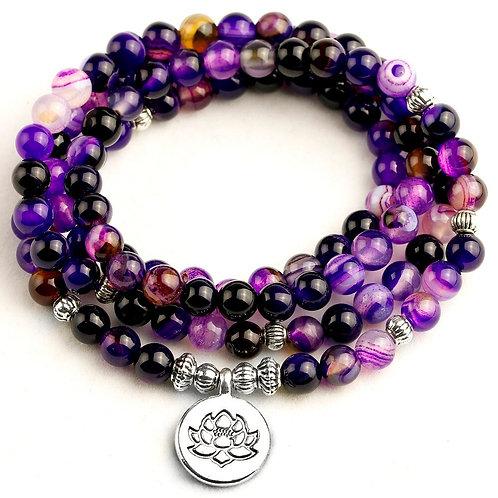 Women's Bracelet Bright Purple Line Beads With Lotus OM