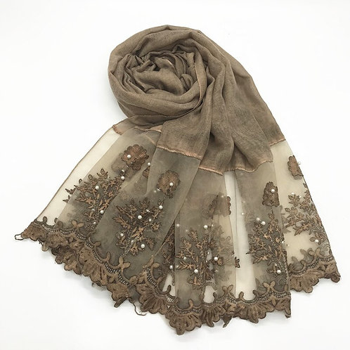 1pc Solid Color Two-Sides Lace Women Foulard Shawl Nailed Pearl Plain Stitching