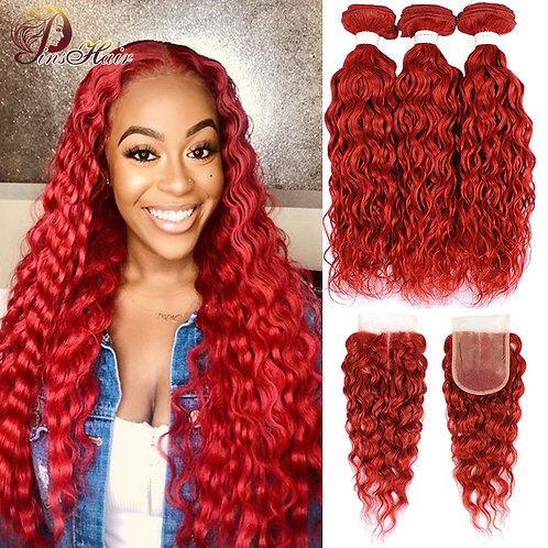 Brazilian Water Wave Red Bundles With Closure Burgundy Red