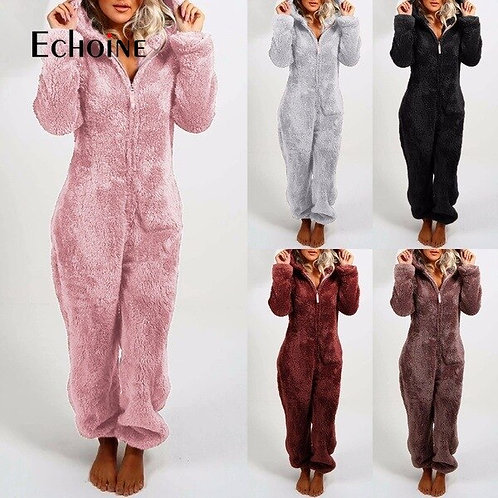 Winter Women Solid Plus Plush Thickened Onesies Adults Hooded