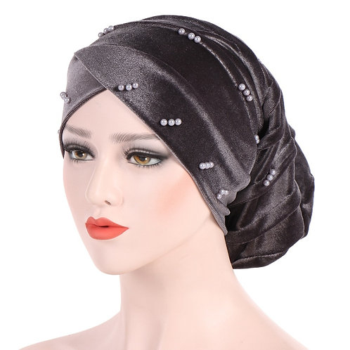 Velveteen Pearl Turban Caps Folding Pile Fashion