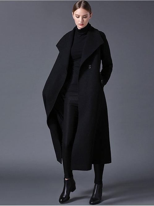 Wool Coat Lapel Black or Dark Blue Long