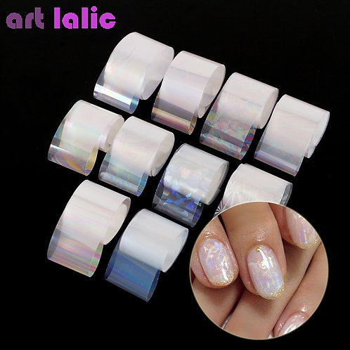10 Rolls/Box Holographic Transparent Gradient AB Color Transfer Sticker