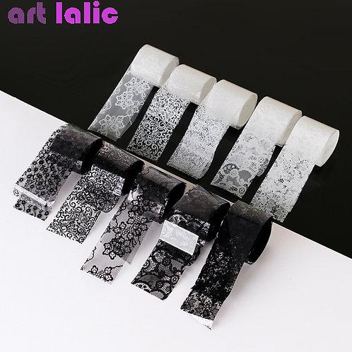 10 Rolls Black White Lace Transfer Foil Nail Art Sexy Flower