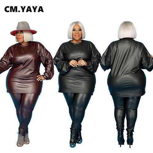 Plus Size XL-5XL Faux Leather Women's Set 2-Piece