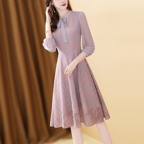 Fairy Dress Lace Pleated Bow Neck A-Line Woman