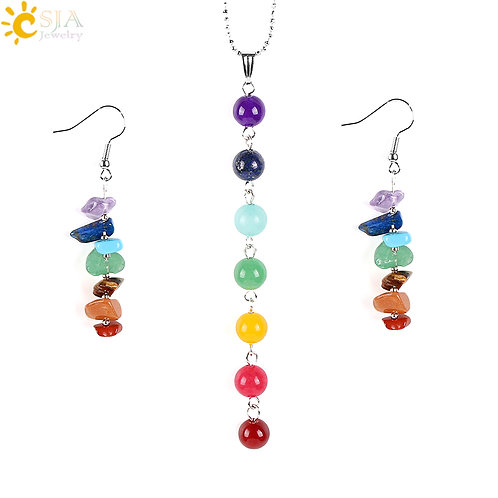 CSJA 7 Chakras Yoga Women Jewelry Sets Reiki Natural Gem Stone Mala Beads E702