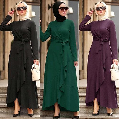 Morrocan Open Abayas Dresses for Ramadan Dubai Long Sleeve KaftanWith Belt