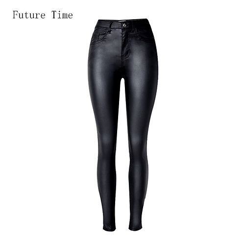 Fashion  Jeans fitting High Waist Slim Skinny Faux Leather Jeans
