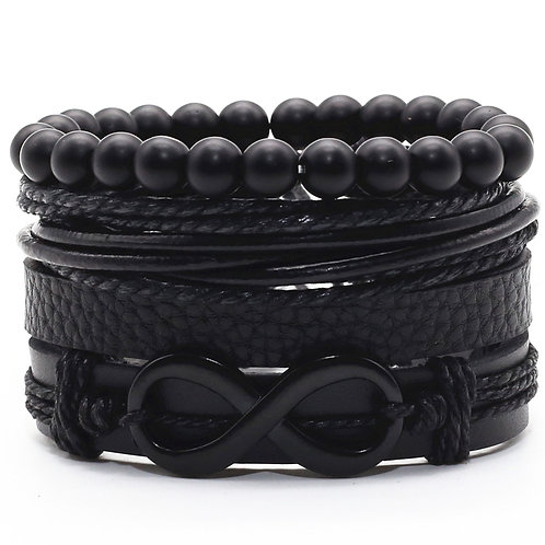 Infinity Black Beads Charm Link Alloy Woven Leather Bracelets