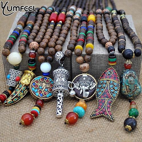 Yumfeel Nepal Mala Wood Beads Ethnic Horn Fish Statement Jewelry