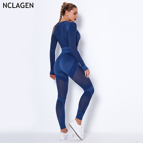 Seamless Women Knitted Long Sleeves Yoga Suit Hollow Training Gymwear
