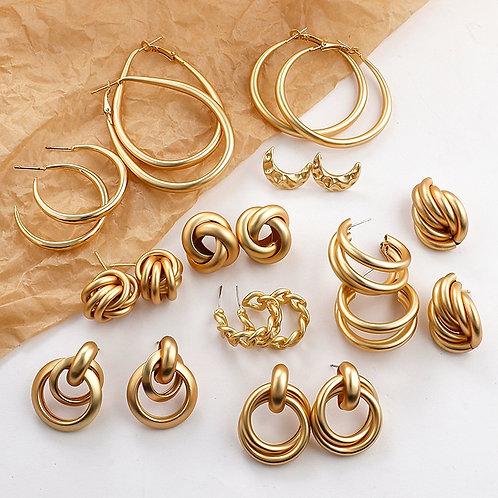 Gold Color Earrings for Women Multiple Trendy Round Geometric Drop Earrings