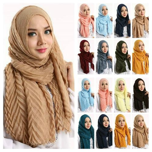 Arab Women Ripple Cotton Hijab Turban Scarf