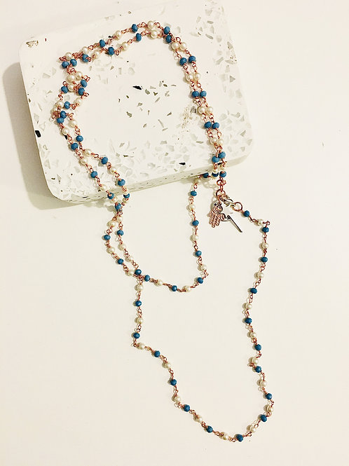 Rosary Pearls and Blu Stones Long Necklace With Magic Wand and Hamsa Charms.