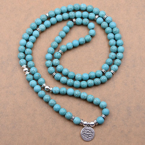 Natural 108 Stone Beads Lotus Pendant