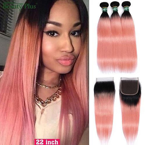 Rose Pink Human Hair Bundles With Closure