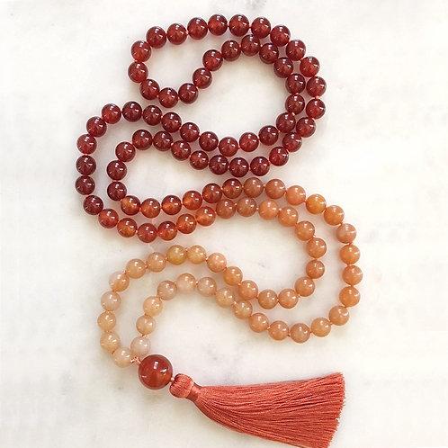 Mala 108 Beads Necklace Orange Aventurine Silk Tassel Chakra Jewelry Yoga
