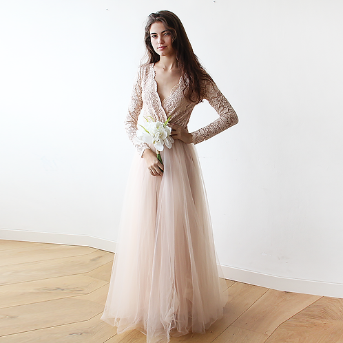 Blush Tulle and Lace Dress #1125